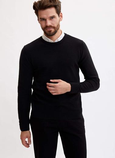 DeFacto Basic Slim Fit Kazak Siyah